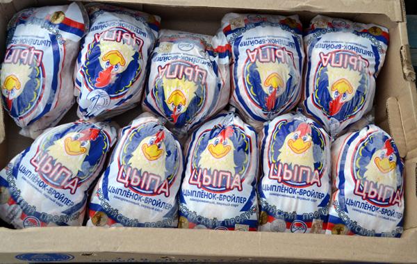 Тушки куриные (мясо курицы) ЦБ, калибр от 1,0 до 1,9 кг в фирменном пакете, фасовка — ящик по 10 шт